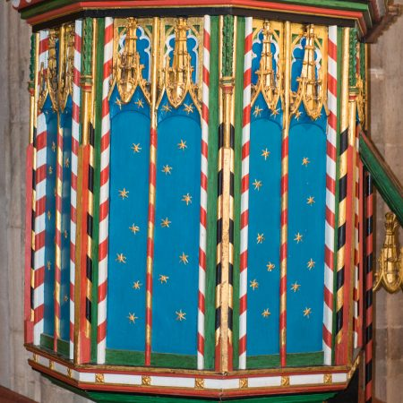 Painted pulpit dating from the 15th century
