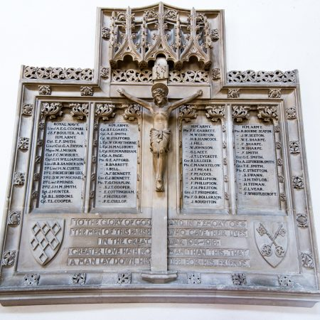 War memorial 1914 -1918. 2 shields one of St Wilfrid and one of St Peter