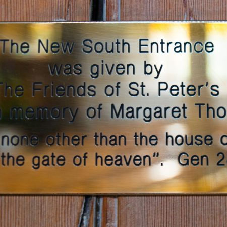 Plaque in thanks of Donation to South Porch