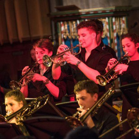 Oundle Church Brass trio from OSJO1 FOPC Jazz night Jan 2015